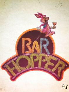Bar Hopper Vintage Glitter Iron On Heat Transfer by VintageIronOn on Etsy