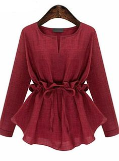 Plus Size Womens Blouse Shirts Autumn Slim Waist Ruffles Long Sleeved Cotton Linen Shirt Elegant All-match Chemise Femme Blusas Plus Size Blouses, Plus Size Tops, Plus Size Women, Red Blouses, Shirt Blouses, Blouses For Women, Spring Blouses, Cotton Blouses, Tee Shirts