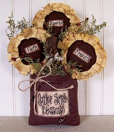 """Primitive Country Fall """"Gather Simple Blessing"""" Sunflower and Crow Bag Primitive Country Fall Gather Simple by CherylsPrimkeepsakes Primitive Fall, Primitive Crafts, Country Primitive, Primitive Snowmen, Primitive Christmas, Country Christmas, Christmas Christmas, Country Crafts, Country Decor"""