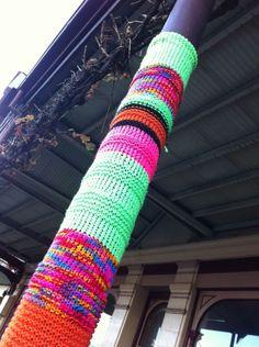 yarn bombed pole