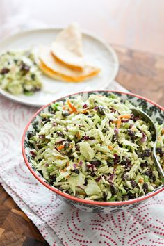 Mexican Slaw Salad with Black Beans: slaw, creamy avocado dressing, black beans and spring onions / scallions