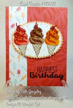 Stampin' Up! Cool Treats birthday card idea.  Stamp Set is available at http://TheCraftyStampersDen.stampinup.net.