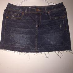 Aeropostale Jean Skirt Like New Jean Skirt! Frayed on the bottom. Diamond design. Great for over bikini. Aeropostale Skirts Mini