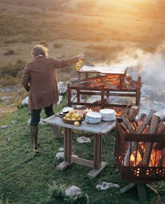 Cook over a large fire.