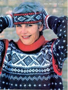 Unn Soiland Dale, the designer of the Marius Sweater, the best-selling knitting pattern ever. This pix was taken in the 90s. She designed the Marius sweater in the 1950s. From the website for Dale of Norway (the company she founded), Lilliunn.
