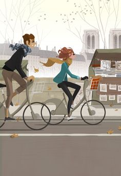 Le illustrazioni in bicicletta Bicycle Illustration, Couple Illustration, Christmas Illustration, Digital Illustration, Graphic Illustration, Paris Illustration, Bike Drawing, Buch Design, Bicycle Art