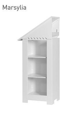 Sosnowa dostawka/regał z 3 półkami do szafy Marsylia 142/50/40 cm