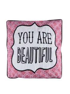 Sass & Belle - Růžový polštář  You Are Beautiful - 1