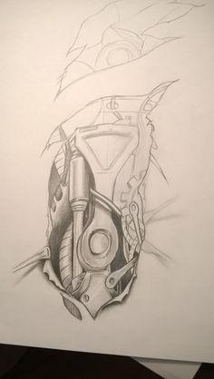 Biomechanika tattoo, tatuaż. Wip. Ołówek, format a4.