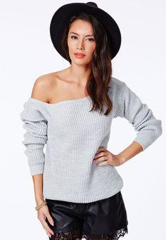 Ayva Off Shoulder Knitted Longline Jumper Light Grey - Knitwear - Missguided