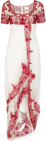 Marchesa Embroidered Tulle Gown in Red (white) - Lyst