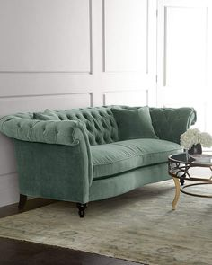 Jadelyn Tufted Sofa at Horchow. Rolled arms, tufting, and a slightly serpentine front rail make this sofa a welcome addition to living spaces. Sofa Furniture, Shabby Chic Furniture, Furniture Design, Green Furniture, Furniture Stores, Furniture Ideas, Smart Furniture, Furniture Websites, Modular Furniture