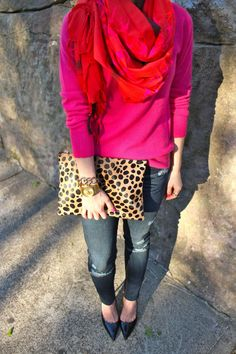 Pink! There's nothing like pink to feel extra girly and feminine! Plus pointy toes and leopard clutch and gold jewelry!