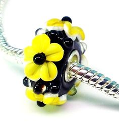 Yellow and black Murano glass flower beads fits by Emmalishop