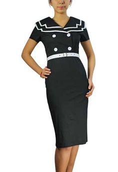 Black Plus-Size Vintage 40's Sailor Pencil Cotton Dress  $49.95  Store: ChicStar.com