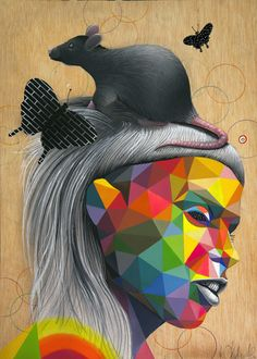 Okuda San Miguel combines greyscale figurative work with bright neon and highly saturated geometric forms. Okuda, Art For Kids, Kid Art, Art Projects, Project Ideas, Love Art, Erotica, Art Images, Disney Characters