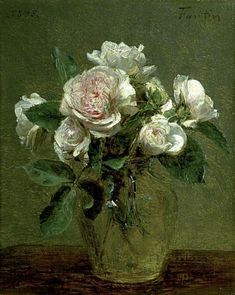 "Henri Fantin-Latour (French, ""White Roses in a Glass Vase"", 27 x 24 cm x 9 Oil on canvas (Collection Guildhall Art Gallery, London) Henri Fantin Latour, Art Floral, Rose In A Glass, Still Life Art, Art Uk, Beautiful Paintings, Oeuvre D'art, White Roses, Hermitage Museum"