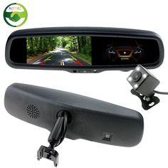 "HD 4.3"" TFT LCD Auto Dimming Anti-Glare Car Interior Mirrors Mirror Monitor With Original Bracket + LED Car Rear View Camera"