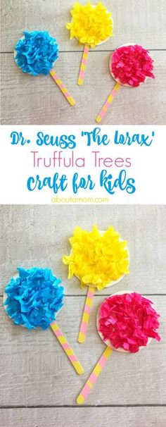 Craft inspired by 'The Lorax' This truffula trees craft is a fun activity to do with the kids after reading 'The Lorax' by Dr.This truffula trees craft is a fun activity to do with the kids after reading 'The Lorax' by Dr. Daycare Crafts, Classroom Crafts, Preschool Crafts, Dr Seuss Activities Preschool, Preschool Themes By Month, Student Crafts, Kindergarten Crafts, Classroom Themes, Kids Crafts