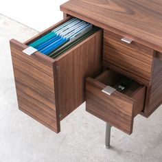 Conrad Desk - awesome file drawer! especially when you don't have enough filing to fill a whole file cabinet.