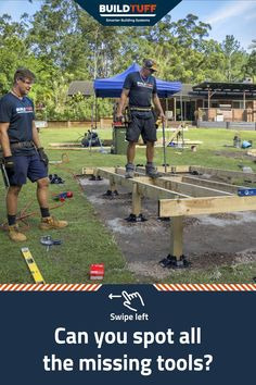 Spot the difference between the two photos, and find the missing tools! Deck Foundation, Easy Deck, Raised Deck, Make Build, Building Systems, Building A Deck, Shed, Tools, Fun