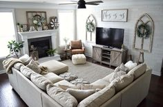 amazing home living room sofa design and decorating ideas Living Room Sofa Design, New Living Room, Interior Design Living Room, Home And Living, Living Room Designs, Living Room Layout With Fireplace And Tv, Living Room With Sectional, How To Decorate Living Room, Large Sectional