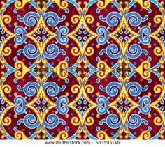 Seamless Vector Scroll Pattern in Gold, Blue and Purple Colors. Decorative Tile Background for Textile Design