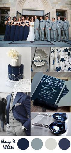 navy blue and silver wedding color ideas and pocket wedding invitations: