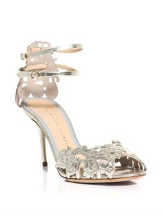 Click Image to Zoom  MORE VIEWS            CHARLOTTE OLYMPIA  Margherita metallic leather sandals (157894)    $1,123