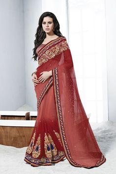 Buy Red Net Party Wear Saree Online in low price at Variation. Huge collection of Party Wear Sarees for Party, Festivals, Engagements and Ceremonies. #party #partywearsarees #sarees #onlineshopping #latest #lowprice #variation. To see more - https://www.variationfashion.com/collections/party-wear-sarees