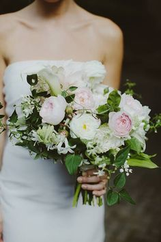 Blush and White Rose and Calla Lily Bridal Bouquet