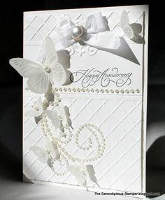 white anniversary card