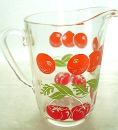 Vintage Glass Juice Pitcher With Oranges, Tomatoes, Green Leaves And Vines Small Drink Pitcher Cotta