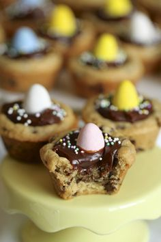 Chocolate Chip Cookie Cups with Milk Chocolate Ganache {satisfymysweettooth.com}
