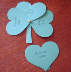 Holy Trinity Shamrock with hearts. Great group activity! ... Adapt for Guides, threefold Promise... Duty to God, Duty to Self, Duty to Others