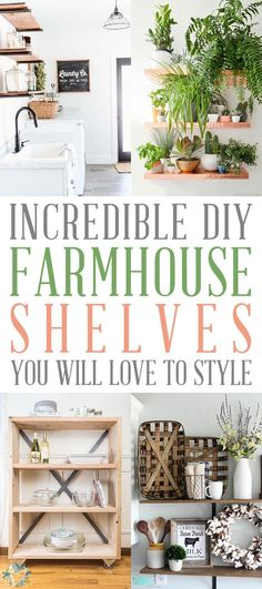 Incredible DIY Farmhouse Shelves You Will Love To Style! Today more than ever people are turning to small... even large home improvement projects for a little pick me up... so I put together a great collection of DIY Farmhouse Shelves that you will adore! They look great... are fun to style and will add tons of charm to your space! #DIY #DIYFarmhouseShelving #DIYFarmhouseShelves #DIYShelves #Farmhouse #DIYFarmhouseProjects ##DIYShelving Large Homes, Home Improvement Projects, Furniture Makeover, Farmhouse Decor, Living Room Decor, Diy Projects, The Incredibles, Shelves, Interior Design