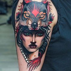 Neo Traditional Girl Tattoo by Isnard Barbosa NeoTraditional NeoTraditionalTattoos NeoTraditionalWoman NeoTraditionalGirl