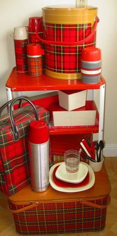 Who's ready for a picnic? Vintage plaid picnic baskets, thermoses and a plaid cooler too!