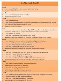 Speaking levels checklist