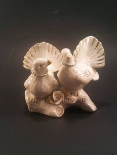 Wedding Pair of White Doves Wearing Wedding Bands Love Birds