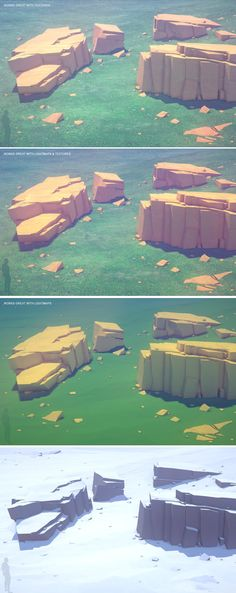 "Polyquest Worlds: more than 110 different cliffs, rocks, blocks, stones, bridges, arcades, monoliths, platforms, gravels, grounds, oceans, vistas cut-out cards & ""god ray"" cards • highly optimized assets running smoothly even on low-end mobile devices • more than a 100 different materials texture simulating real-world surfaces • 87 different example scenes with lighting"