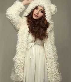 Women Casual Noble Fall Winter Warm Hooded #Furry #Coat Outwear