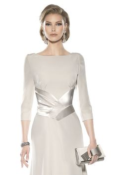 Vestido de madrina largo doble crepe 3465 Teresa Ripoll