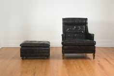 Vintage Black Brown Drexel Heritage Leather Tufted Club Chair and Ottoman. $1,495.00, via Etsy.
