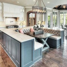 New Home Decoration Inspiration Creative Ideas Kitchen Island With Seating, Kitchen Island With Table, Kitchen Islands, Kitchens With Islands, Kitchen Island On Wheels, Narrow Kitchen, Open Kitchen, Retro Home Decor, Luxury Kitchens