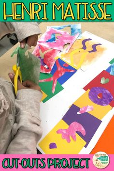 Henri Matisse Cut-Outs Project for kids is a new twist on an old idea. Teach students about Fauvism and drawing with scissors. This art lesson takes 3, 40-minute classes to complete and is great for upper elementary students. | Glitter Meets Glue Designs #collage #matisse #art