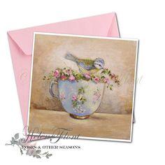 La mésange à la tasse en porcelaine bleu de Sèvres , fleurs - D'après une peinture helen Flont - Reproduction, print , carte postale
