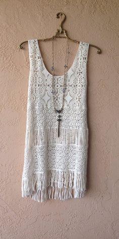 Image of Anthropologie Great gatsby flapper crochet fringe beach bohemian dress