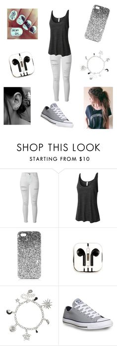 """""""Don't be original. Be unique."""" by turnupformagcon ❤ liked on Polyvore featuring Frame Denim, LE3NO, Topshop, PhunkeeTree and Converse"""