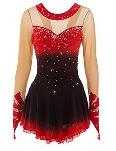 Figure Skating Dress Women's Girls' Ice Skating Dress Black/Red Red+Black Spandex High Elasticity Performance Skating Wear Handmade Ice